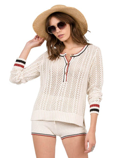 Pullover Thumbs Up Henley Stone Row - Vintage White