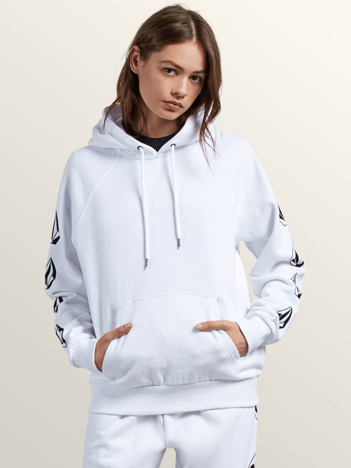 Gmj Hooded Fleece Sweatshirts - White