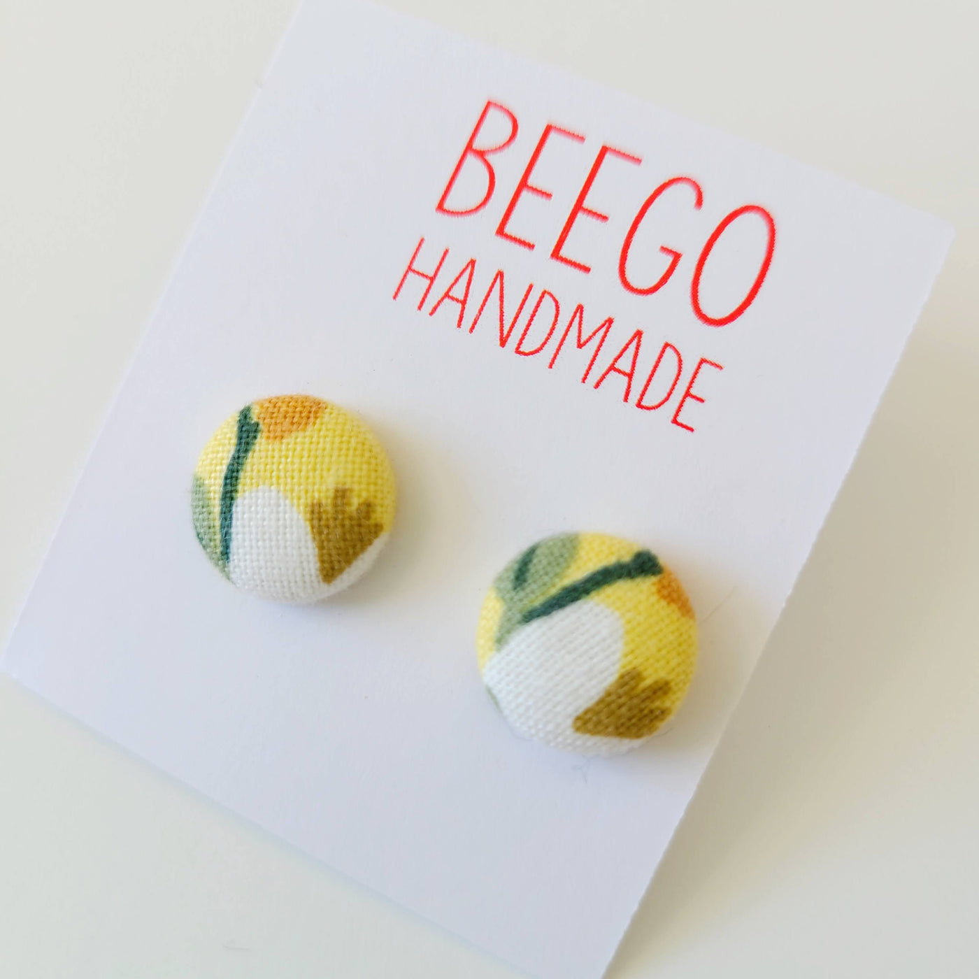 Yellow Birch #7 Fabric Button Earrings