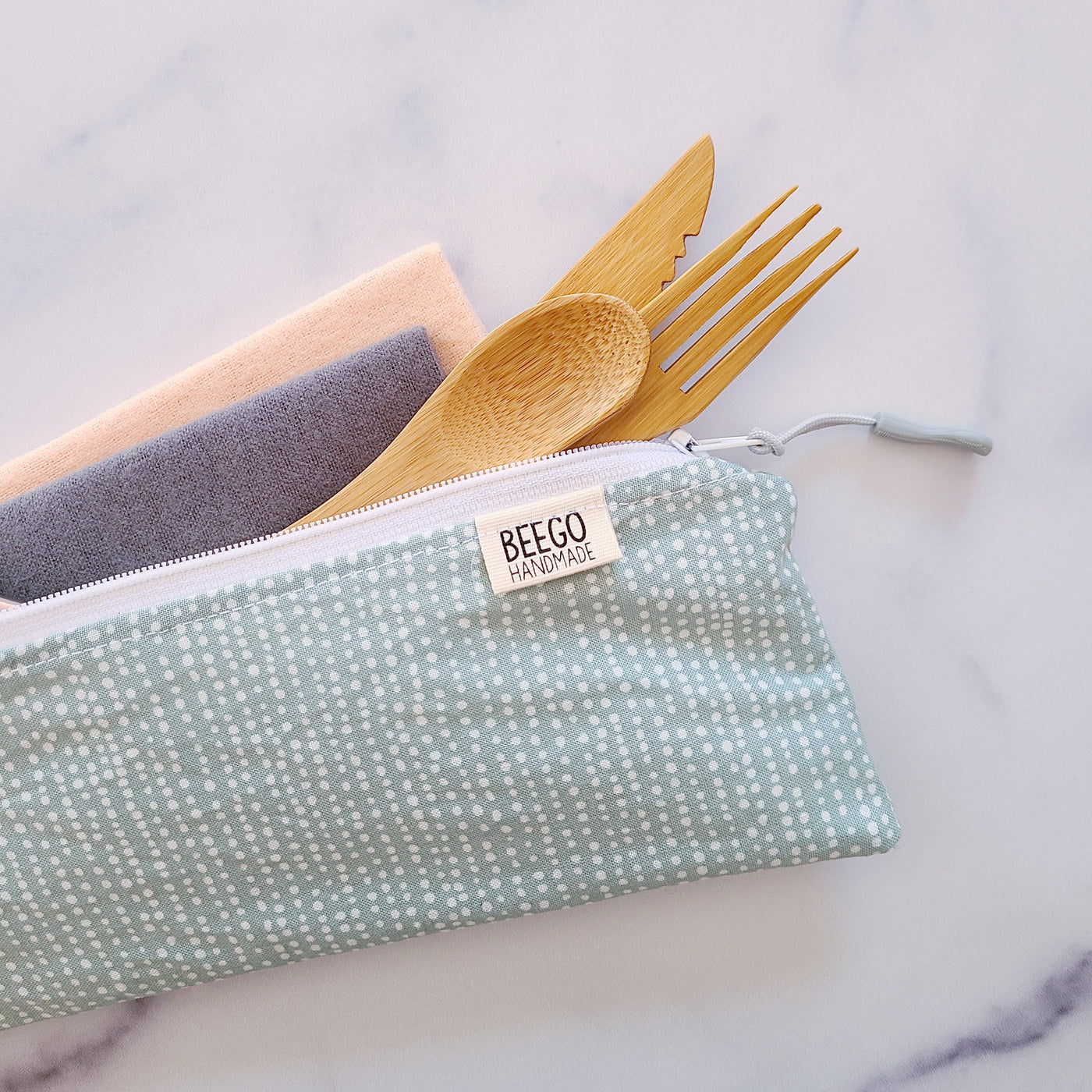 Mini Mint Dots Divided Cutlery Pouch