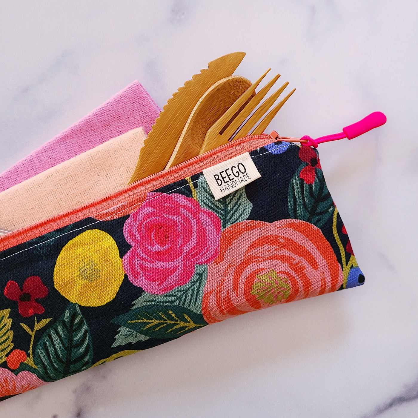 Black Rosa Floral Divided Cutlery Pouch