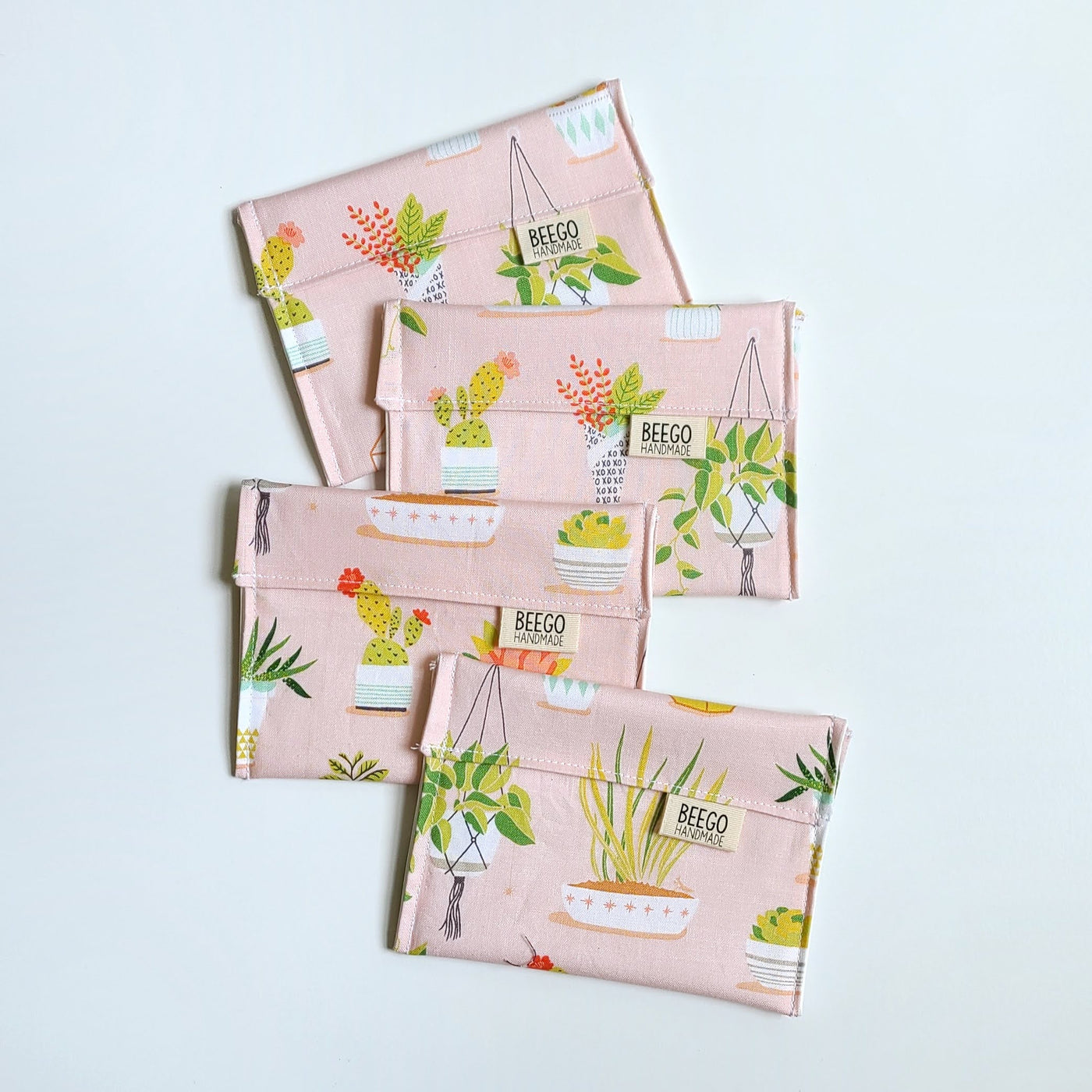 SALE Wonky Pink Plants Snack Bag
