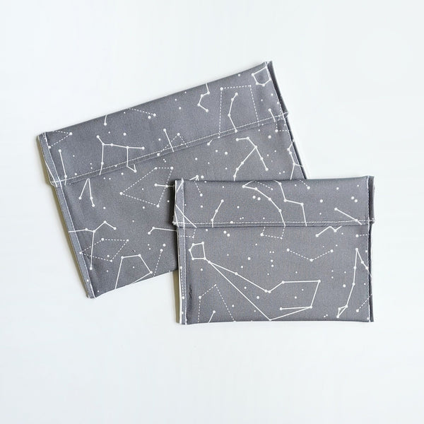 SALE Wonky Gray Constellations Snack Bags
