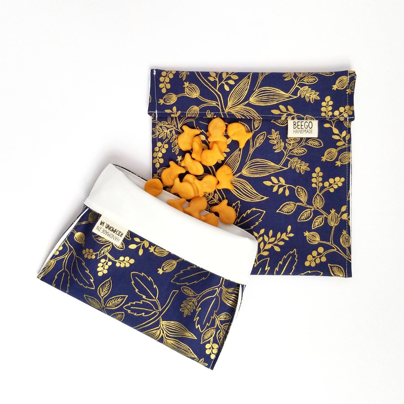 Gold and Navy Floral Snack Bag