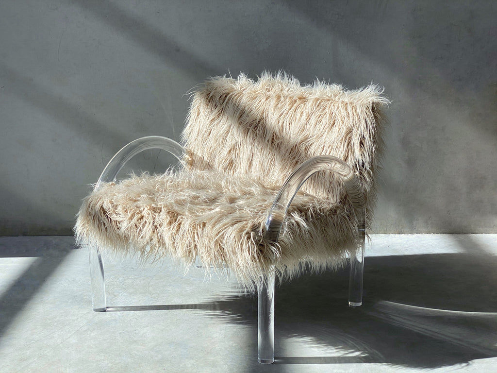 Wylie Chair. Lucite frame. Mocha Shag upholstery.