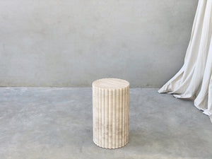 Open image in slideshow, Rosetta Plinth, Travertine (JAN PREORDER)