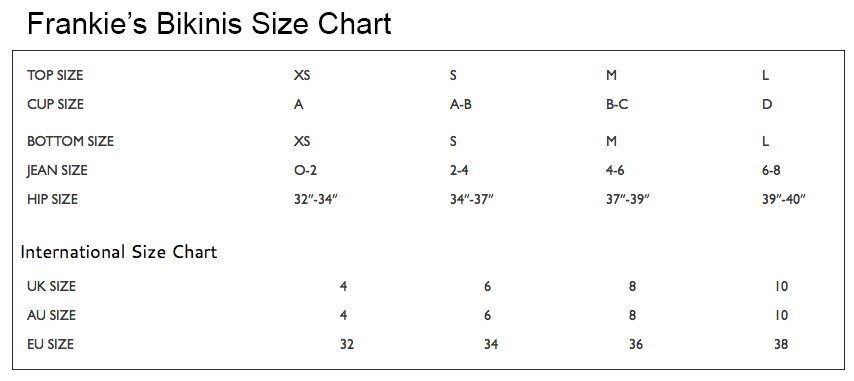 Swimwear Size Charts   The Girl and The Water