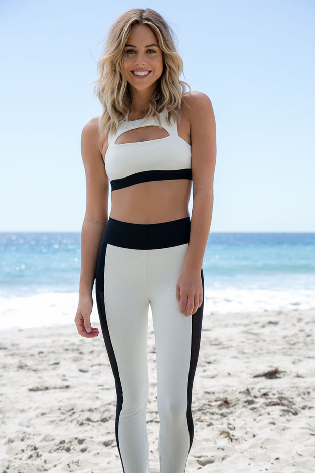 Blue Life Fit - Cut It Out Sports Bra | White Jacquard - The Girl and The Water - 1