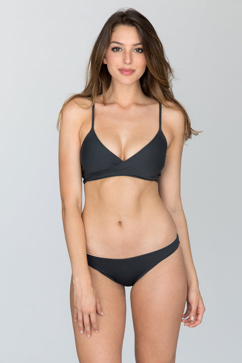 L*Space Swim - Chloe Wrap Top | Charcoal