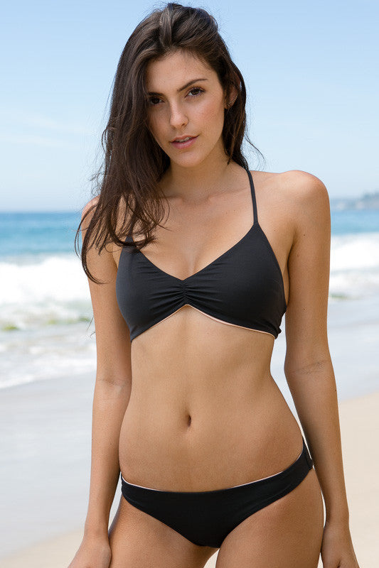 L*Space Swim - Haley Reversible Top | Charcoal - The Girl and The Water - 1