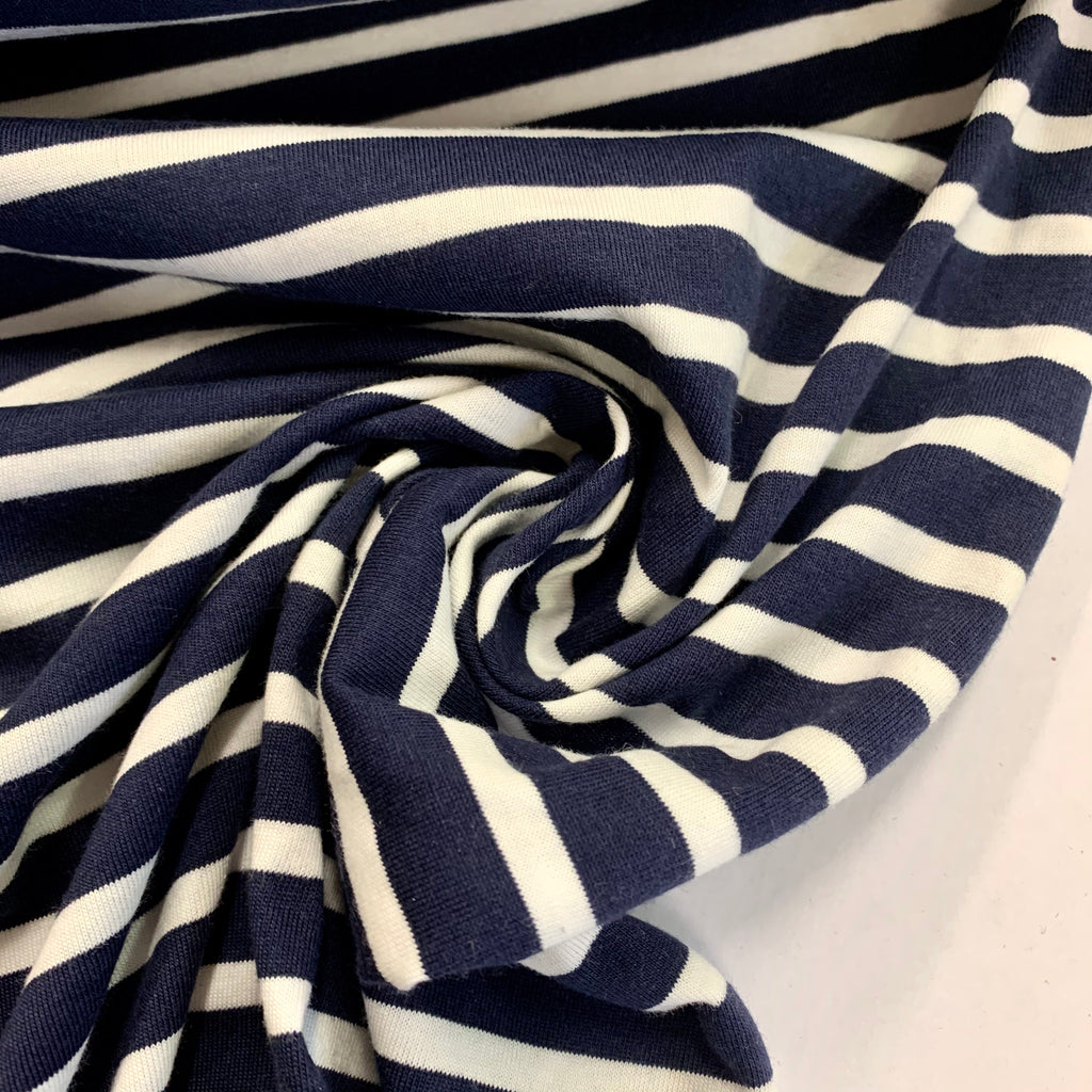100% cotton yarn-dyed stripe jersey - Ladder - navy/white