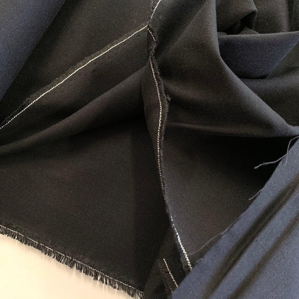 70% Cotton 30% Linen 'Linen Mochi Solids' by Moda - Black