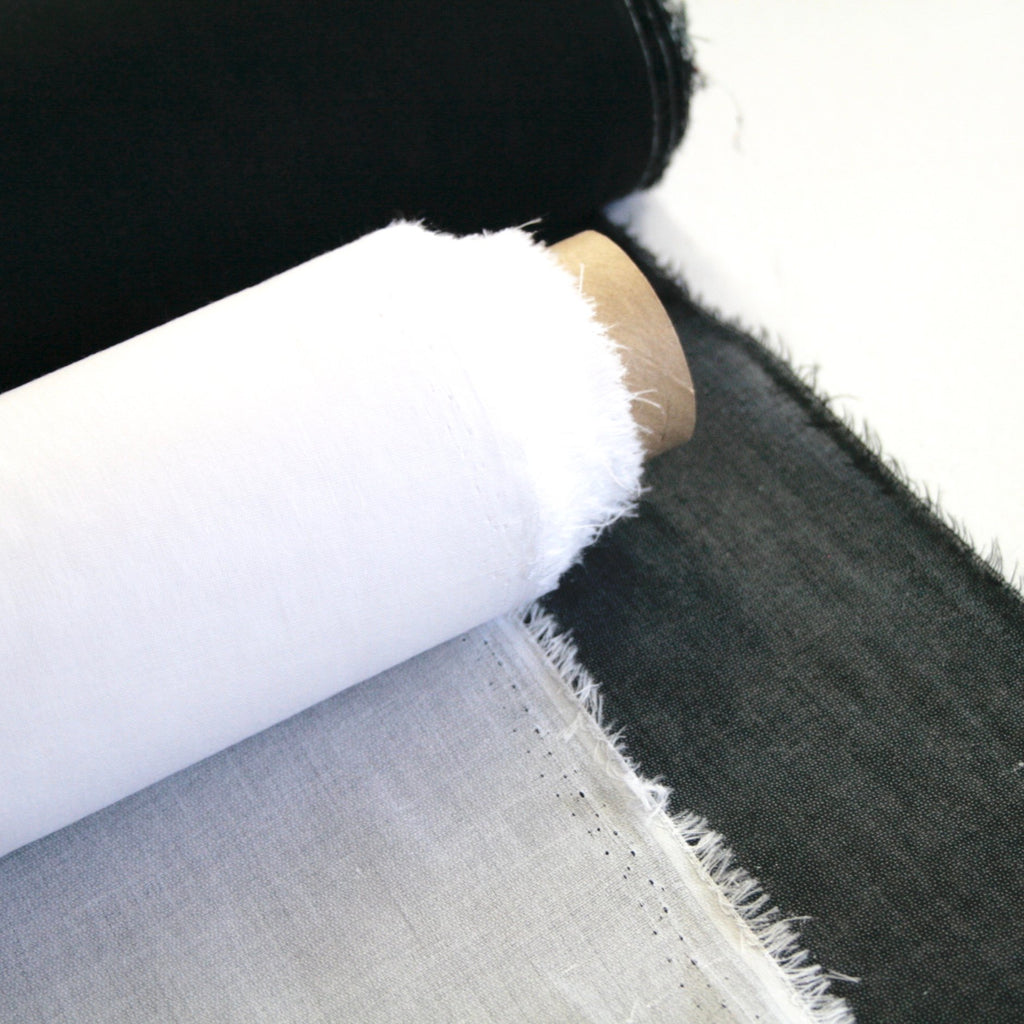 Lightweight woven cotton fusible interfacing - White or Black