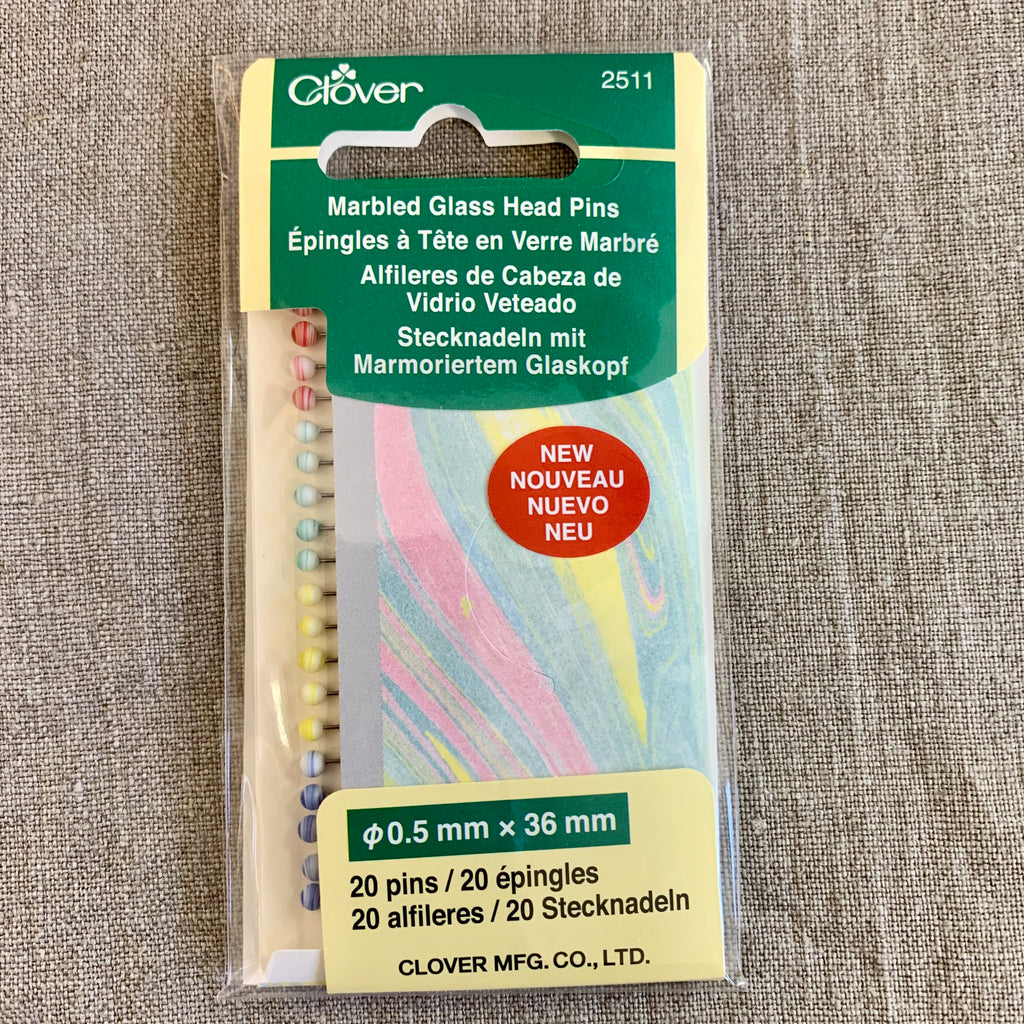 Clover Marbled Glass Head Pins - pack 20