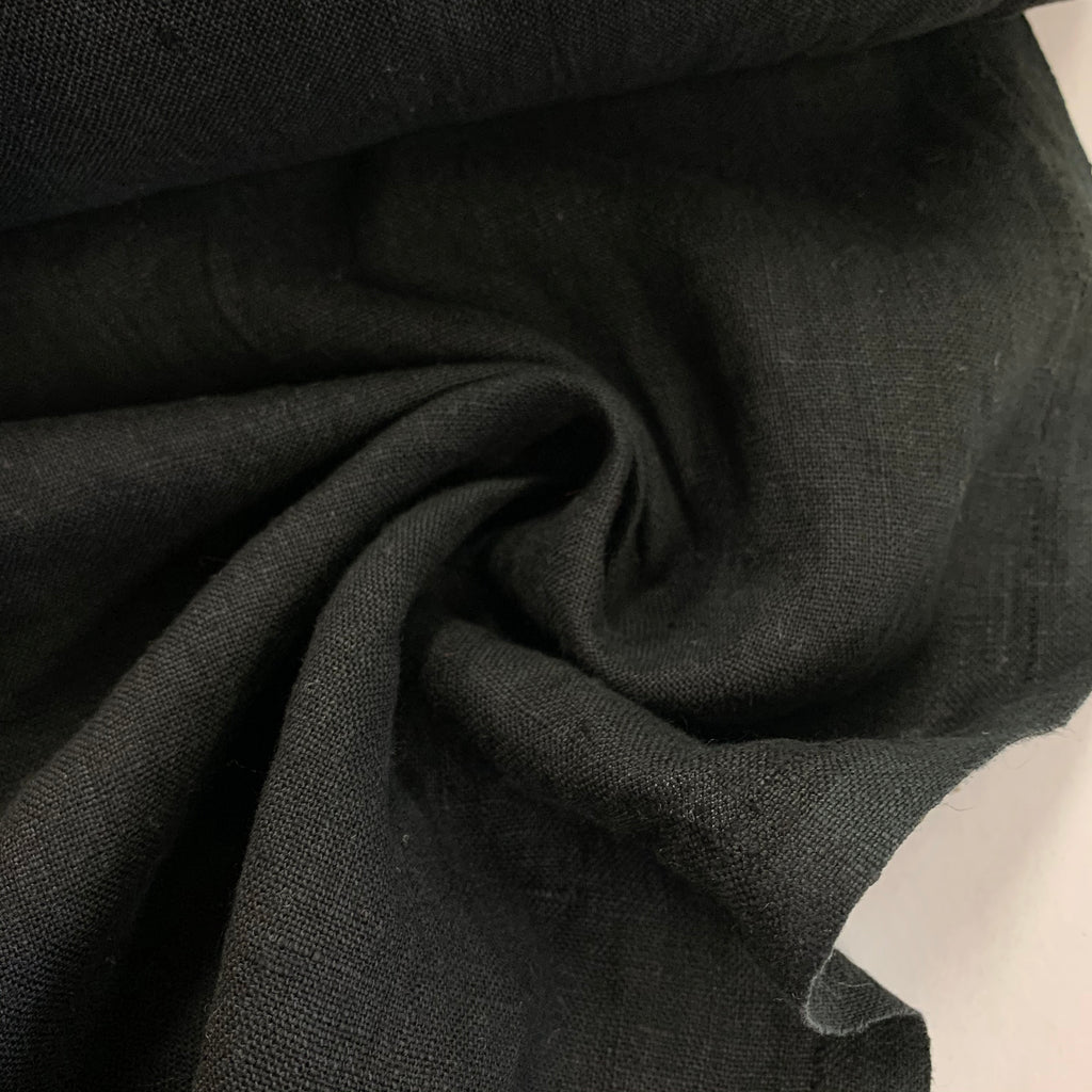 100% linen, washed/softened, Black