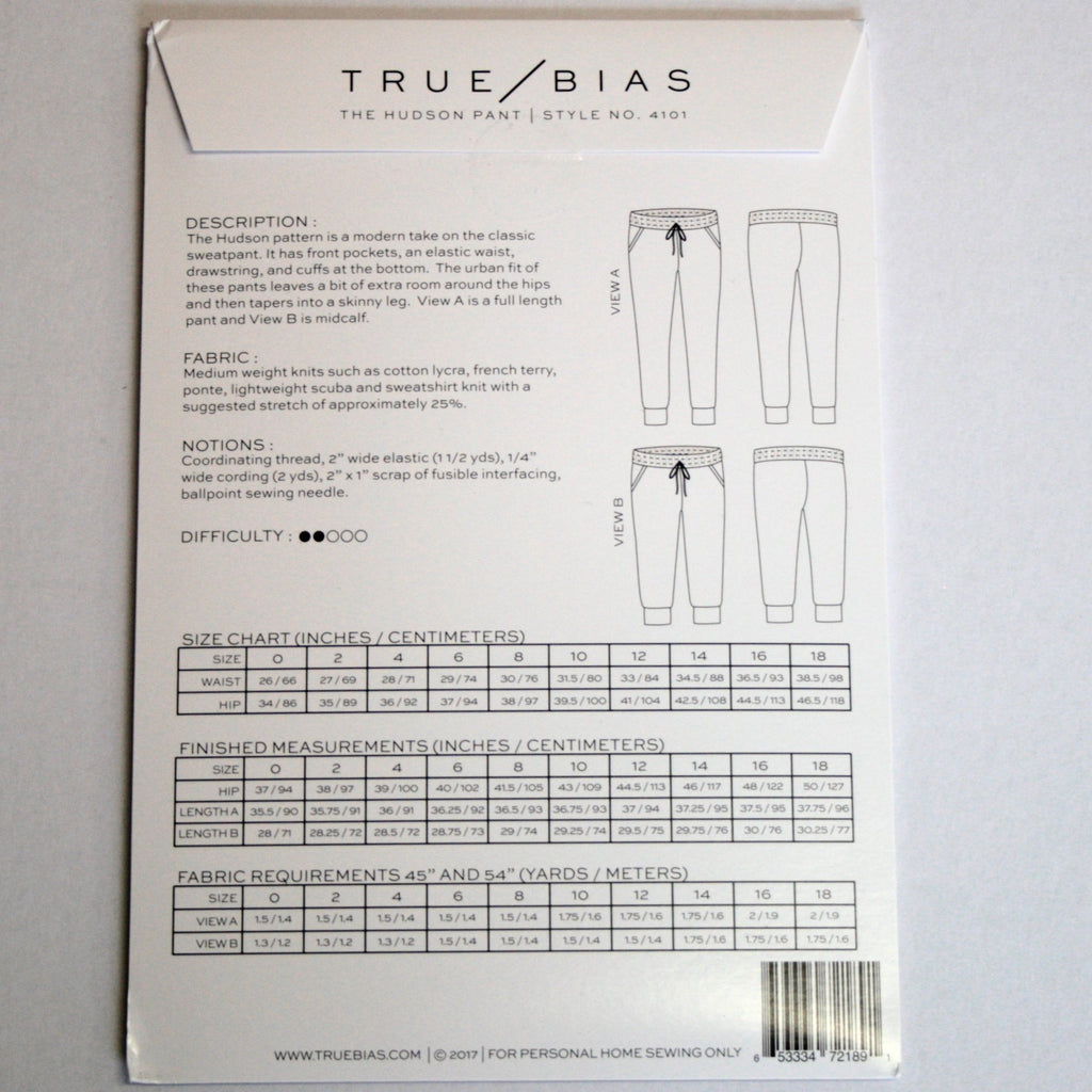 Hudson Pant pattern by True Bias