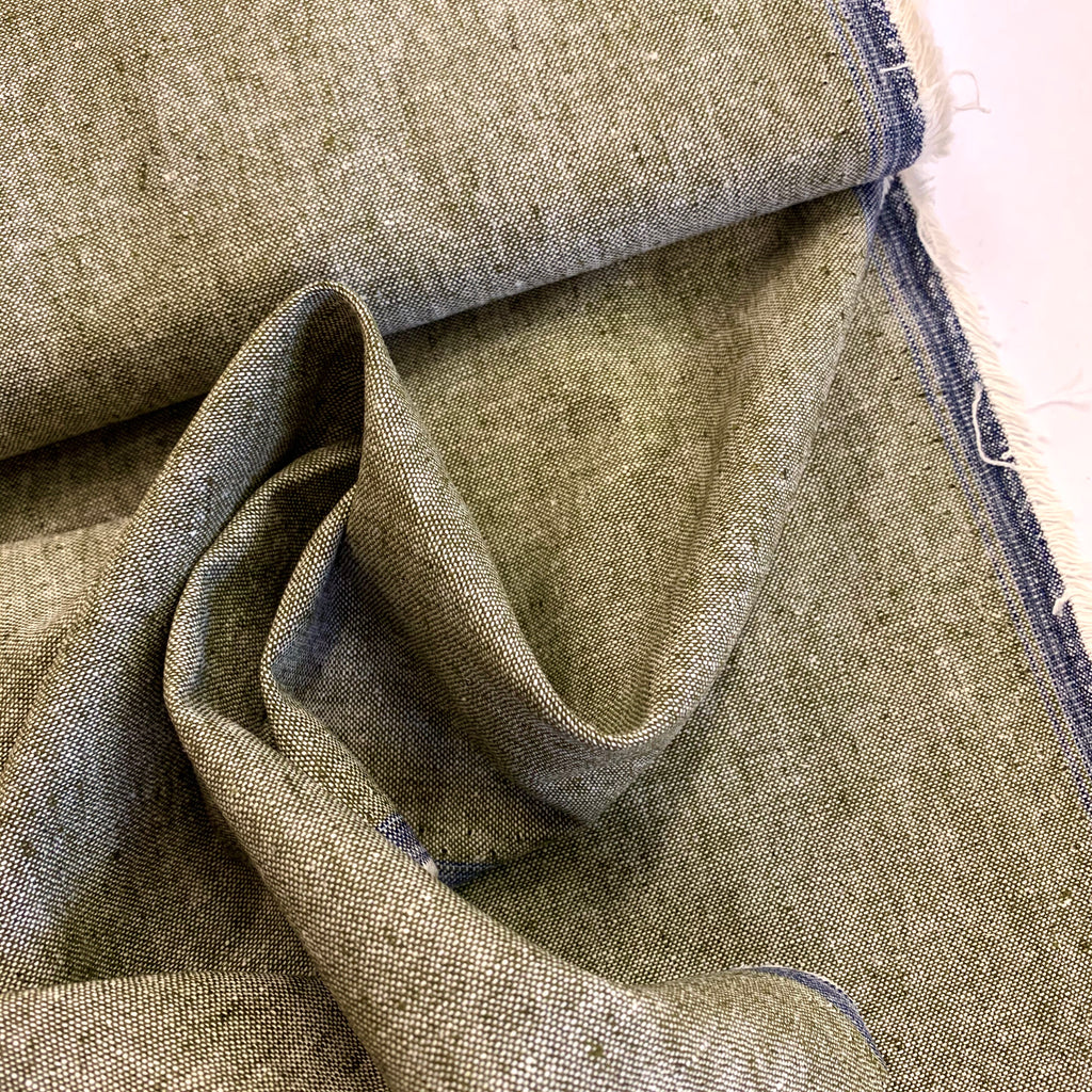 55% linen 45% cotton Robert Kaufman Essex Yarn Dyed 'Olive'