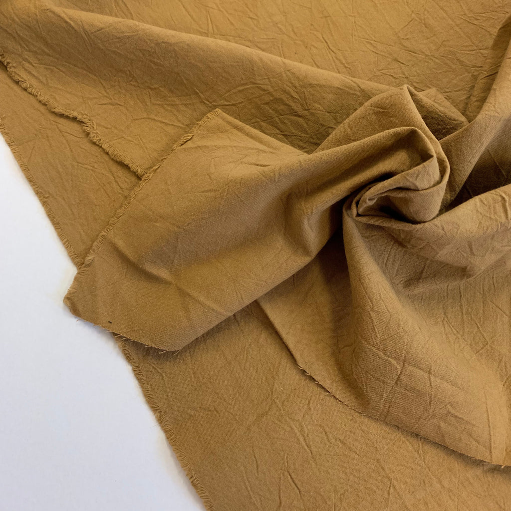 100% Cotton, Crumpled Texture Shirting - 'Hazelnut'