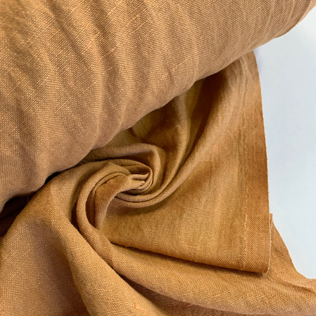 52% linen 48% cotton, washed/softened - Caramel