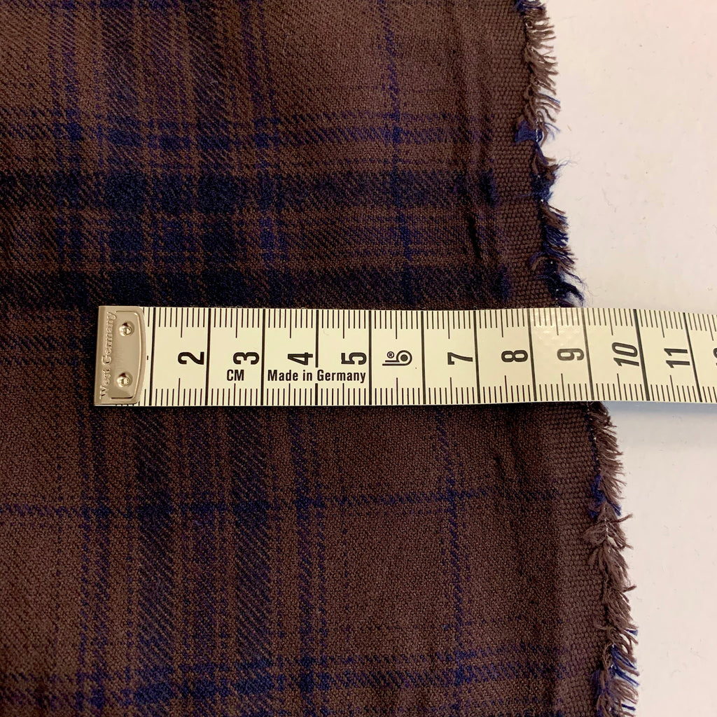 21% Wool 79% Cotton Shrink Check, made in Japan - Chocolate & Indigo