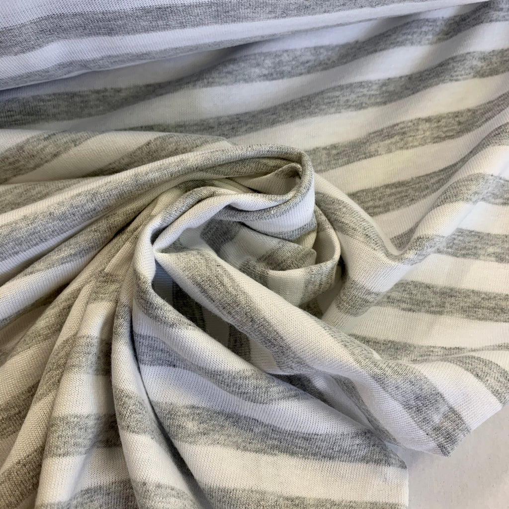 100% organic cotton yarn-dyed stripe jersey, Australian made, grey marle/white