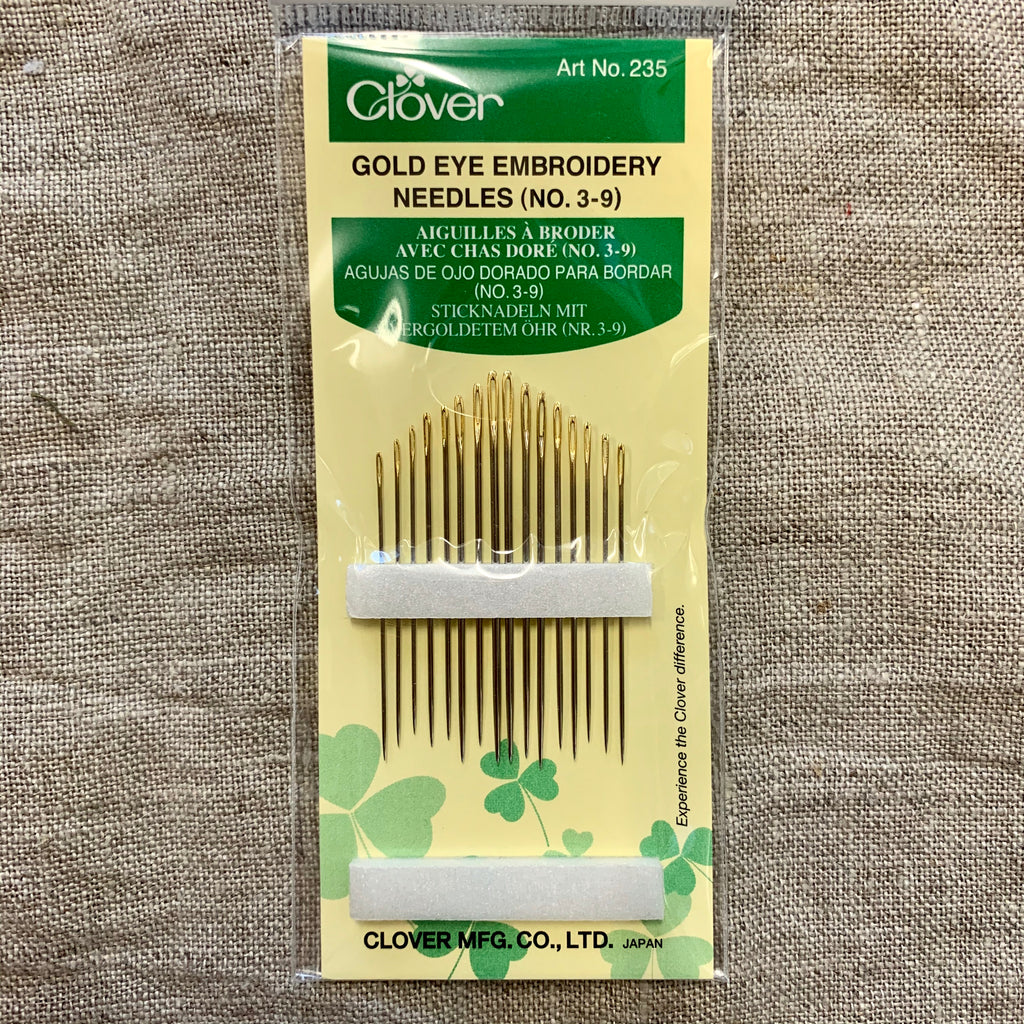 Clover Gold Eye Embroidery Needles multi-size pack (No. 3-9)