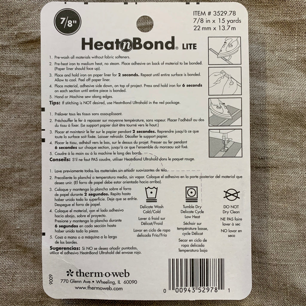 Heat n Bond Lite Double Sided Sewable Permanent Iron On Adhesive 22mm
