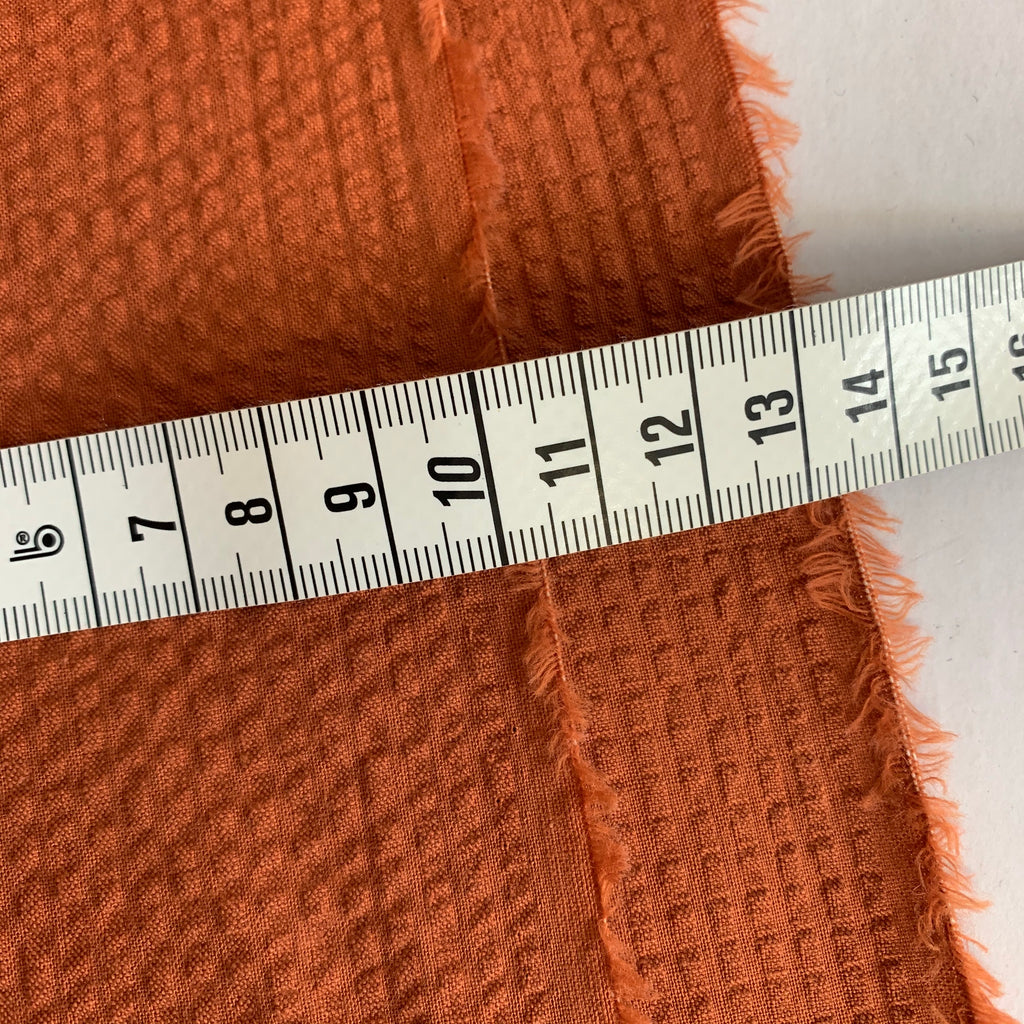 100% cotton Japanese Seersucker, yarn-dyed solid - Paprika