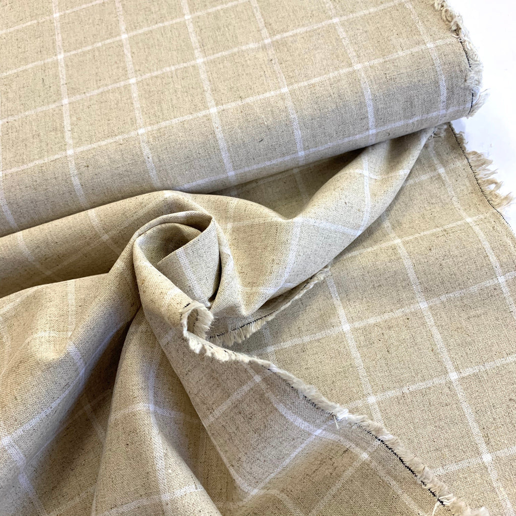 55% linen 45% cotton Robert Kaufman Essex Classic Windowpane - White on Natural