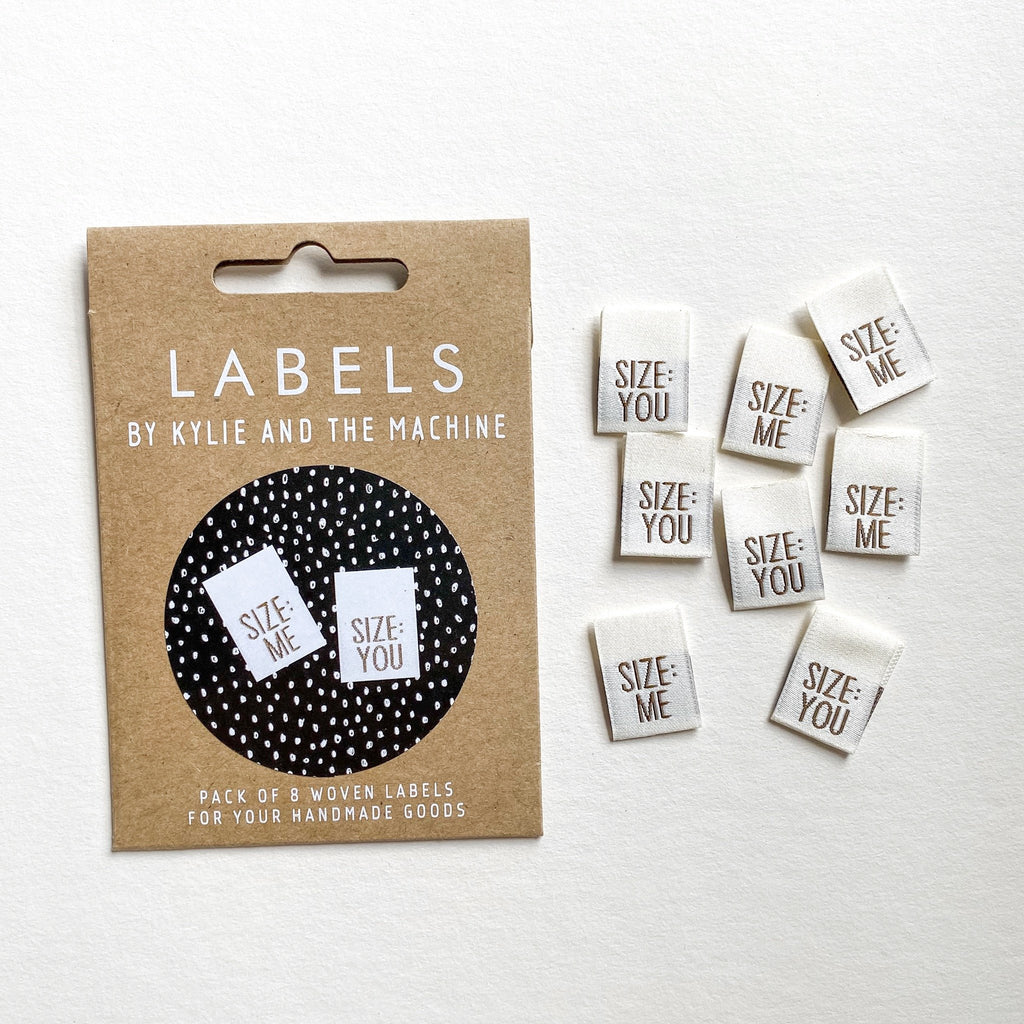 "Pack of 8 woven labels by Kylie and the Machine - ""SIZE: ME/SIZE: YOU"""