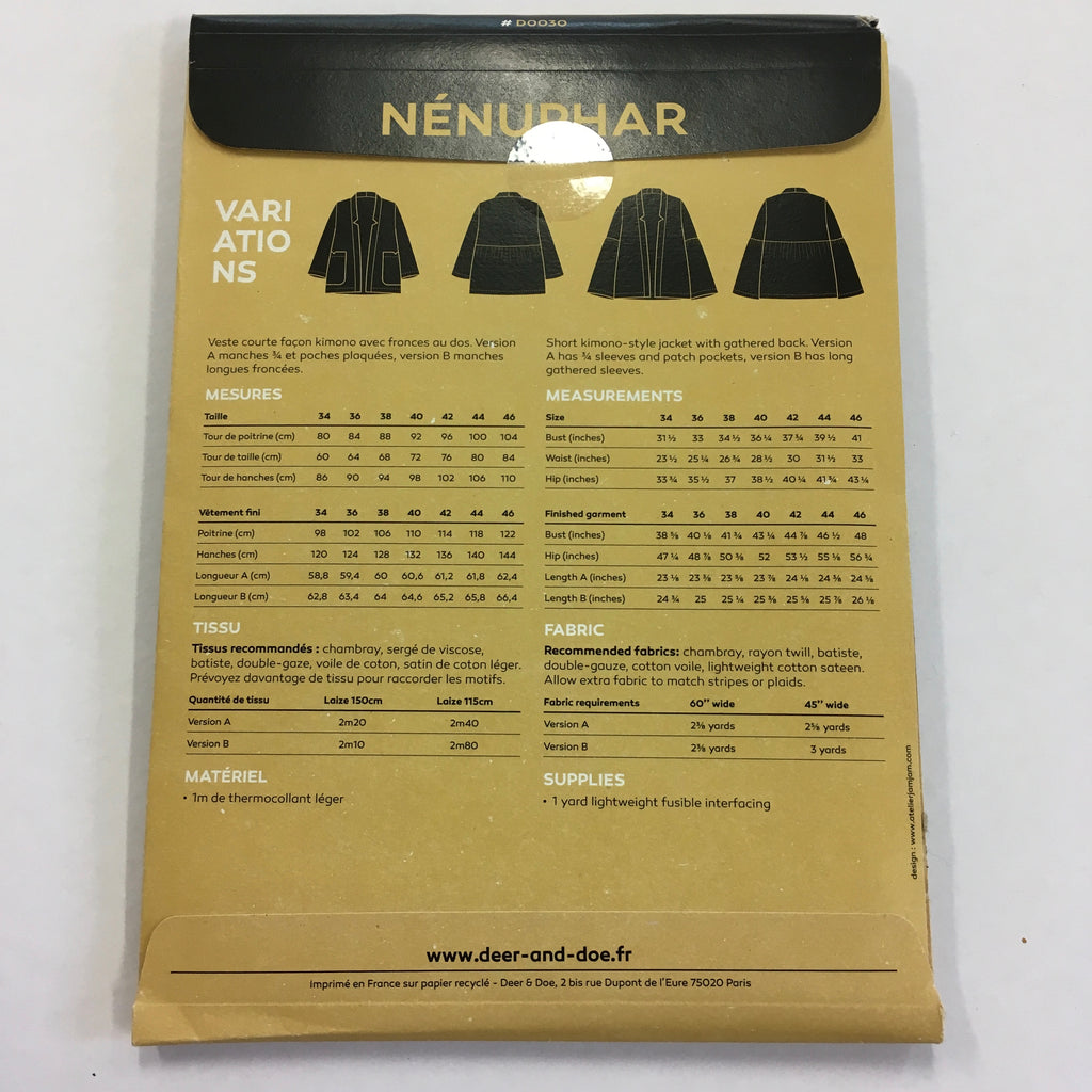 Deer and Doe Nenuphar Jacket pattern