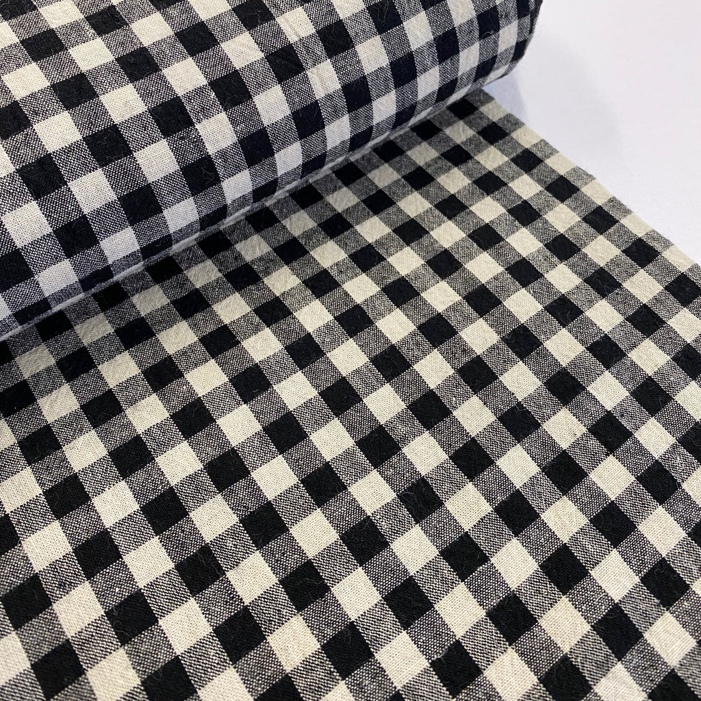 70% cotton 30% linen yarn dyed check - Black/Natural