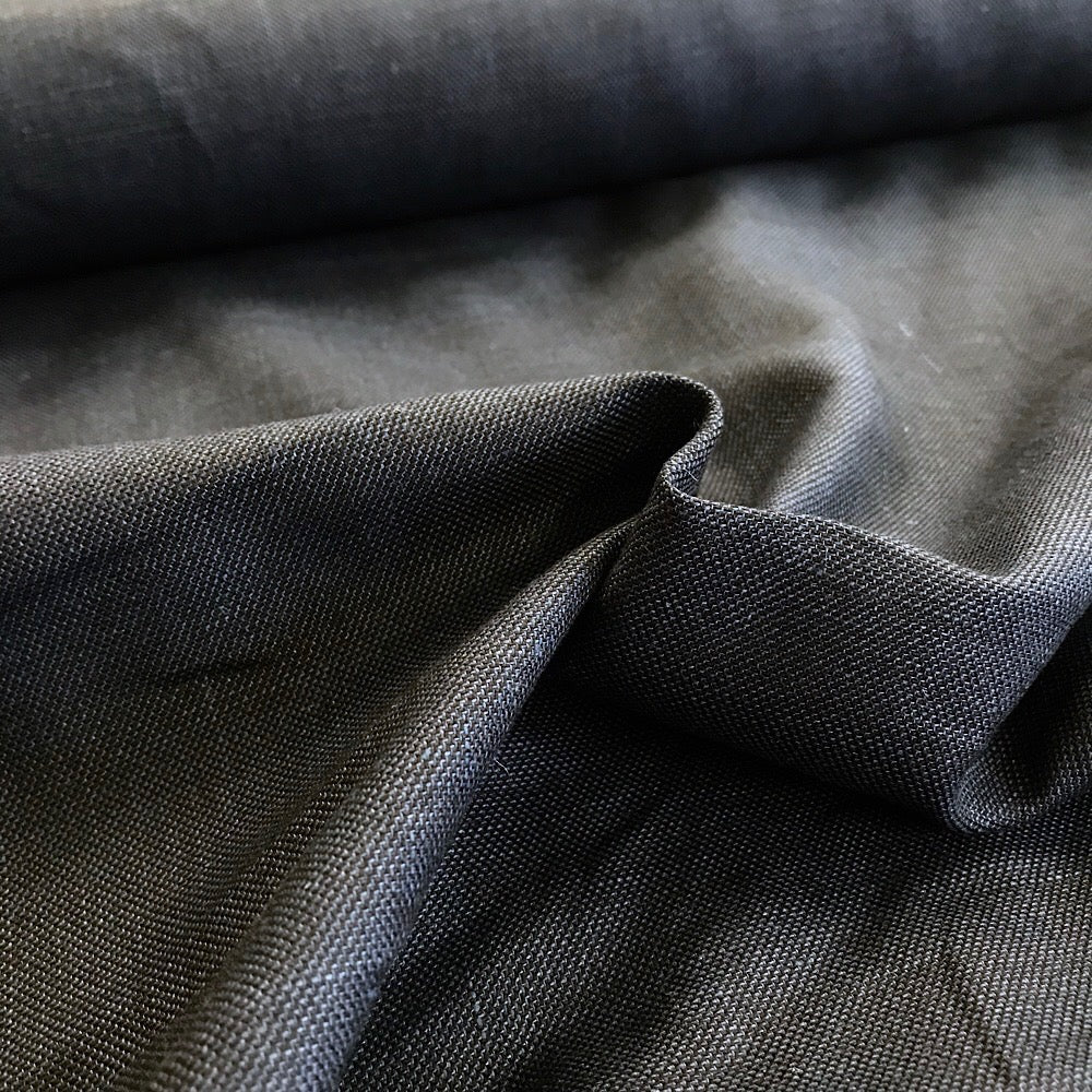 50% linen + 50% cotton yarn dyed twill weave - blues & black