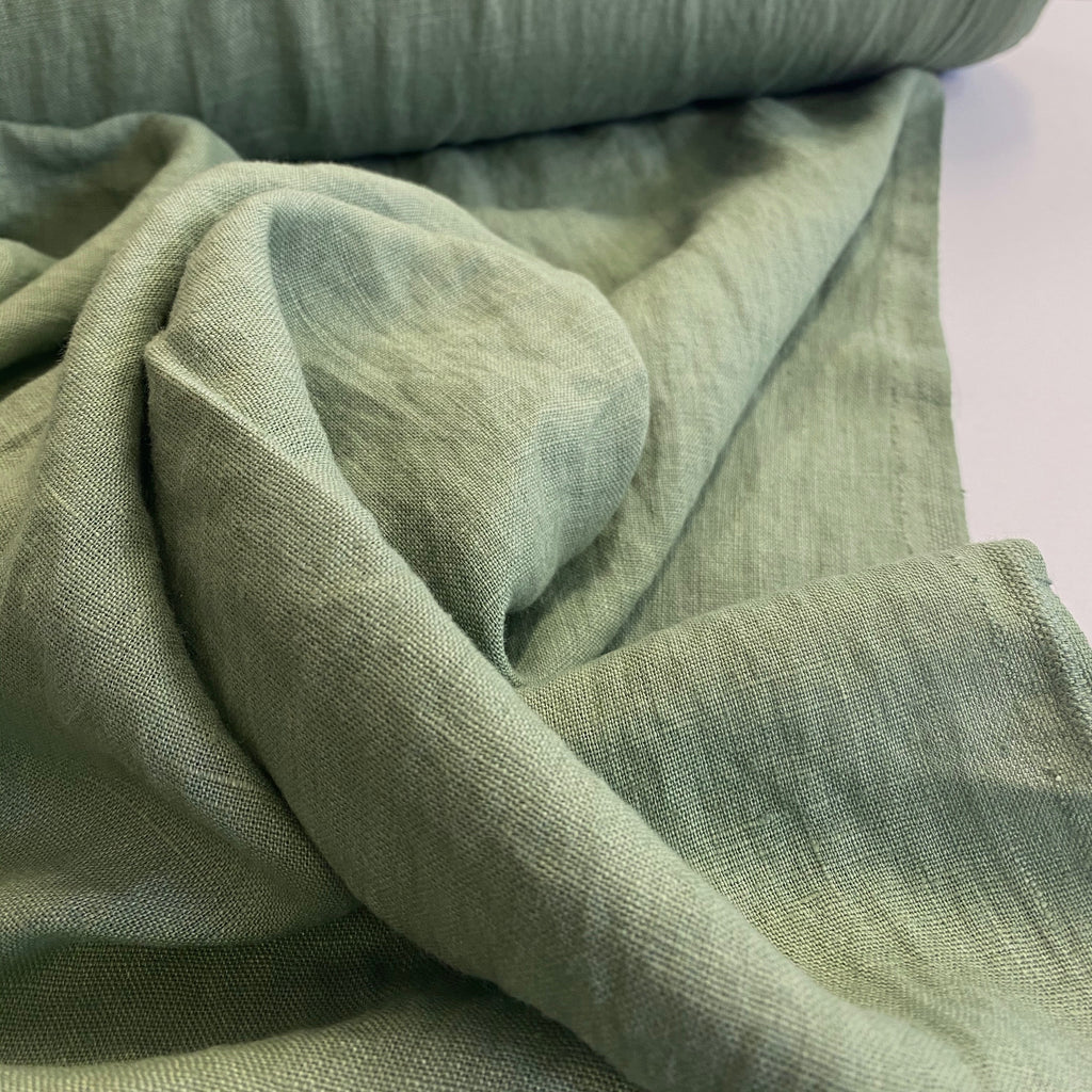100% linen, washed/softened - Spearmint