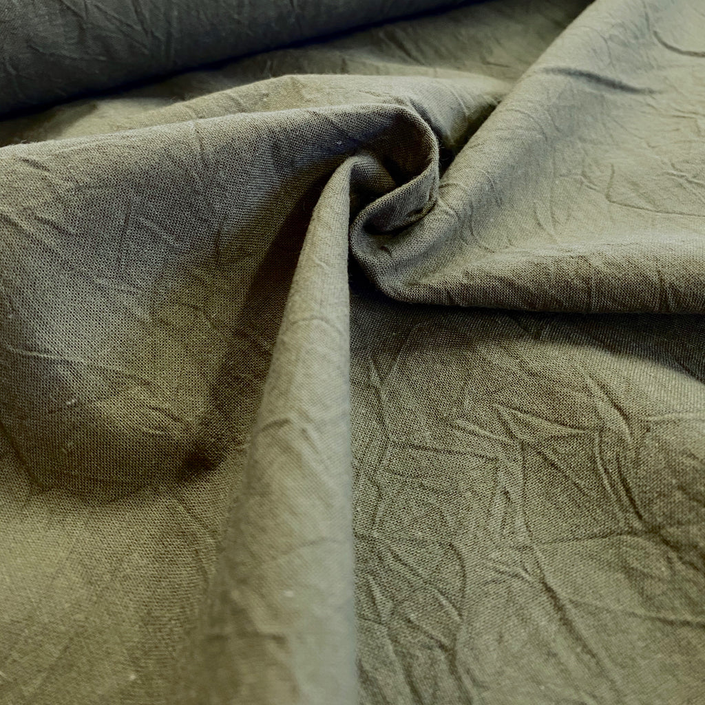 100% Cotton, Crumpled Texture Shirting - 'Khaki'