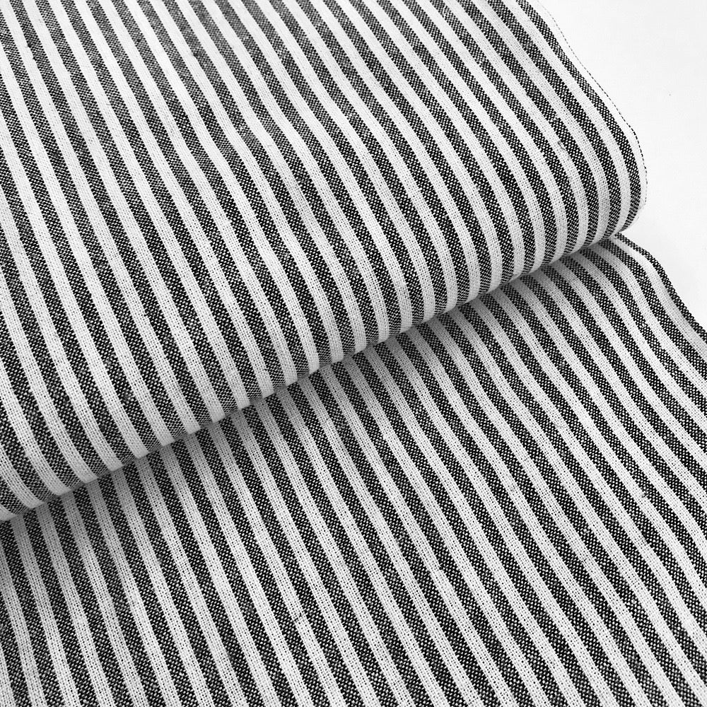 55% linen + 45% cotton, Essex Yarn Dyed woven by Robert Kaufman - black & off-white mini stripe