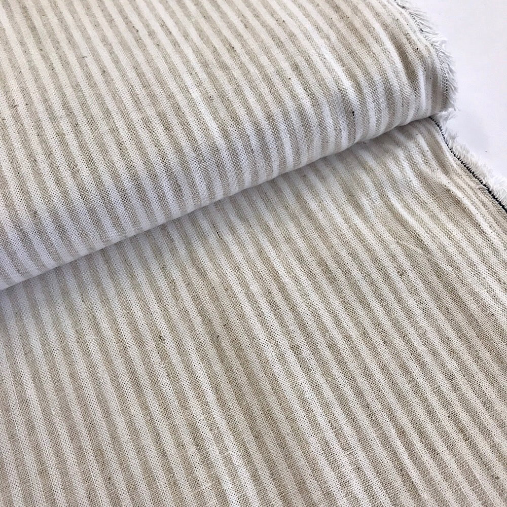 55% linen + 45% cotton, Essex Yarn Dyed woven by Robert Kaufman - natural & off-white mini stripe
