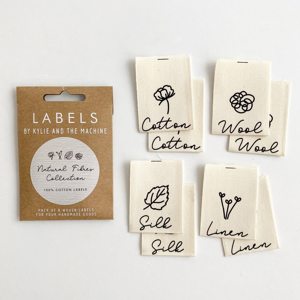 Pack of 8 woven labels by Kylie and the Machine - Natural Fibres Collection