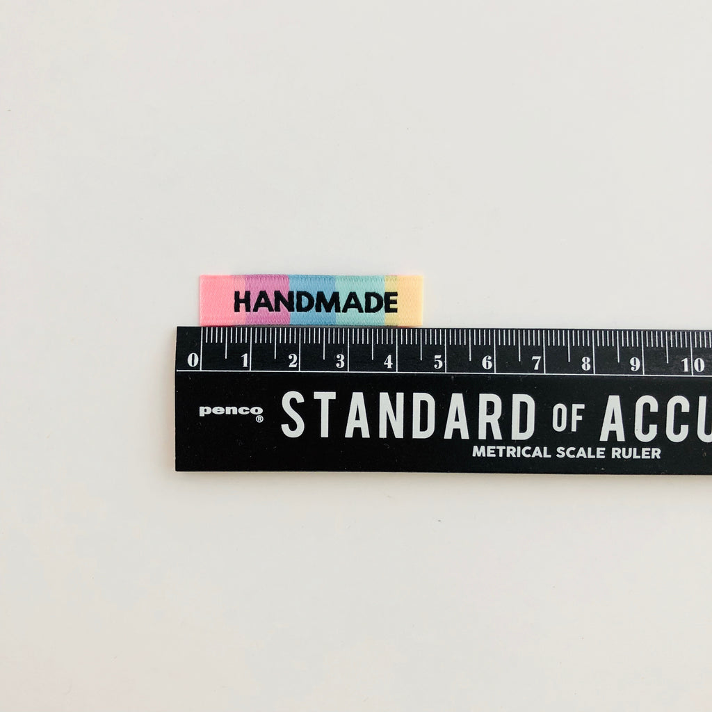 "Pack of 8 woven labels by Kylie and the Machine - ""Handmade"" (Rainbow)"
