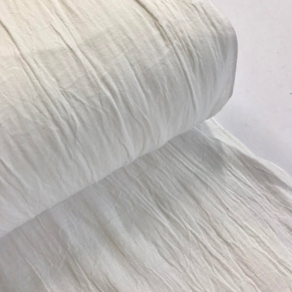 100% cotton double gauze crumple texture - White
