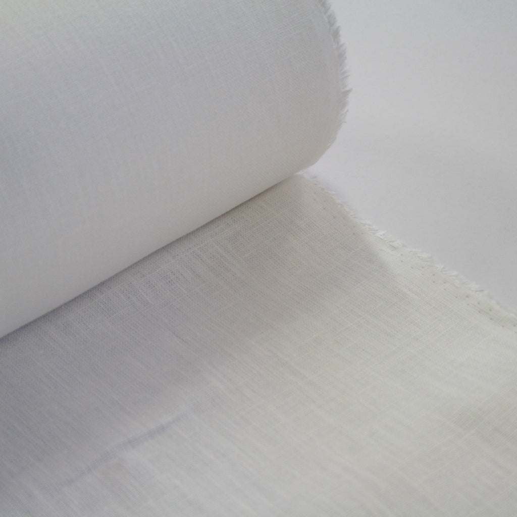 100% linen, made in Lithuania, mid-weight, White