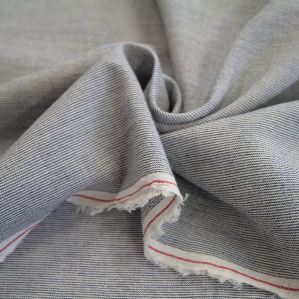 Japanese yarn-dyed cotton-linen Micro Stripe shirting - Dense