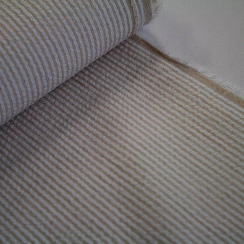 100% cotton Japanese Seersucker, yarn-dyed stripe - Sand
