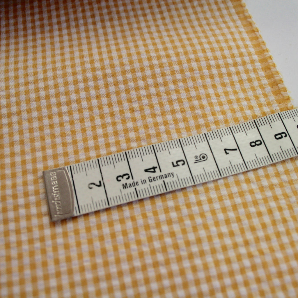 100% cotton seersucker, made in Japan, sunshine yellow gingham