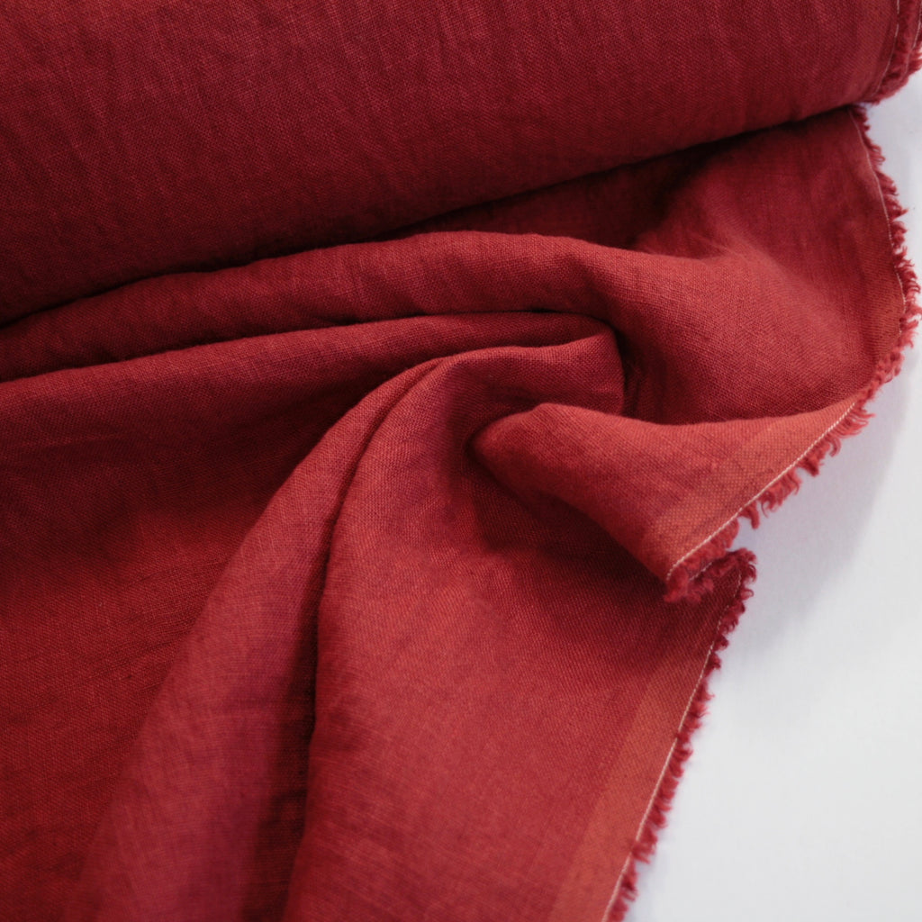 100% linen, washed/softened, Roast Tomato