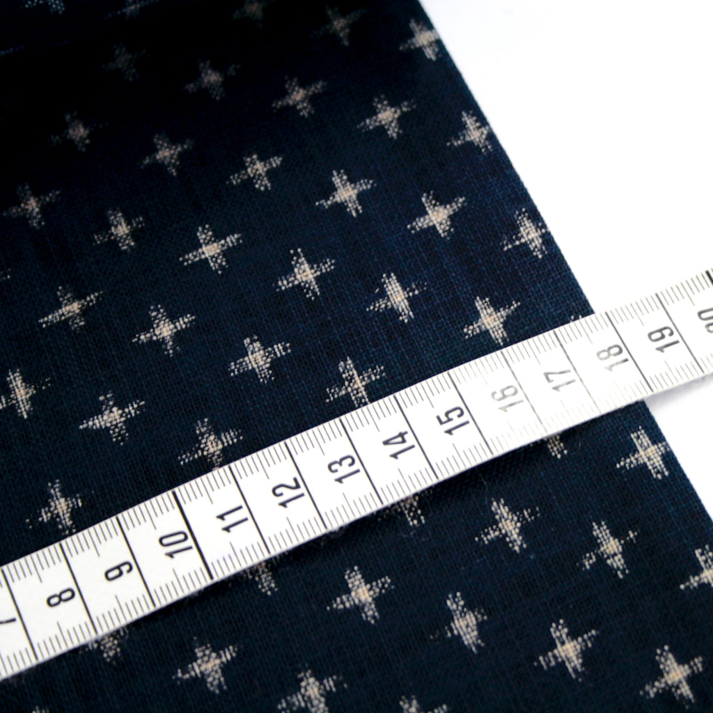 100% cotton Japanese textured indigo cloth - Little Crosses