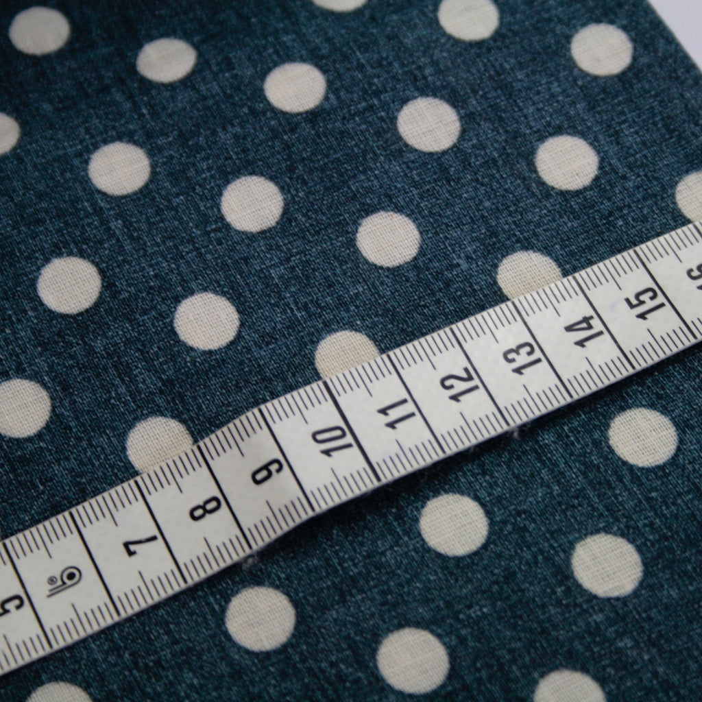 100% cotton double gauze by Sevenberry, navy reverse dot