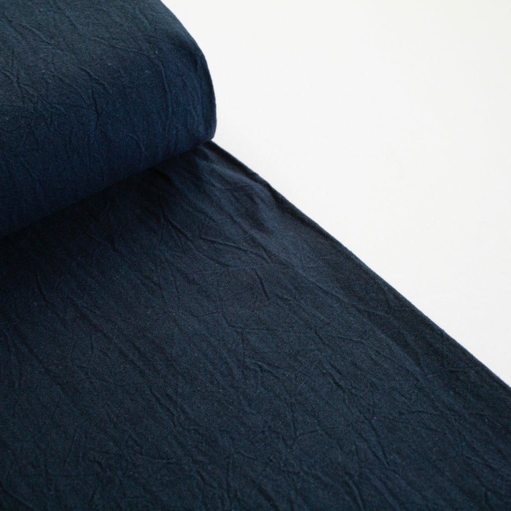 55% Linen 45% Cotton Crumple Texture Canvas - Navy