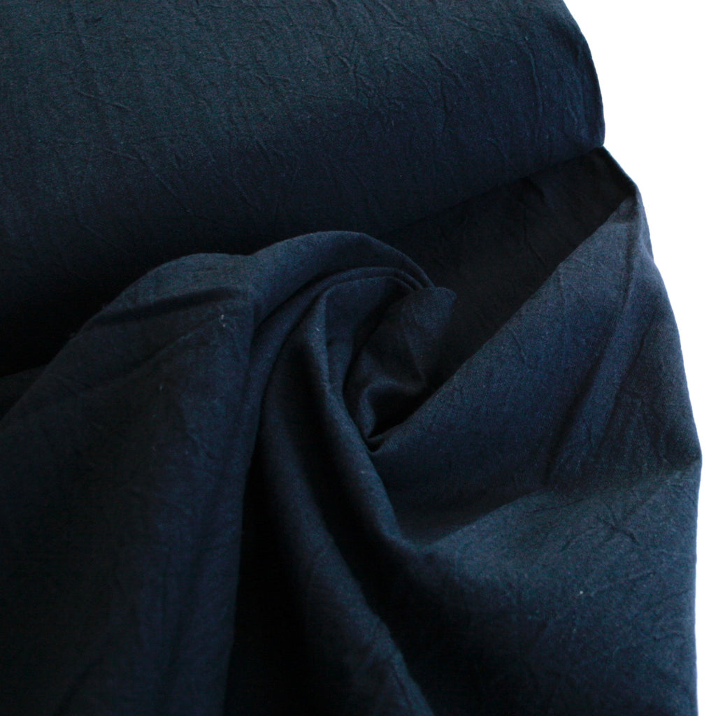 55% Linen 45% Cotton Crumpled Texture Canvas - Navy