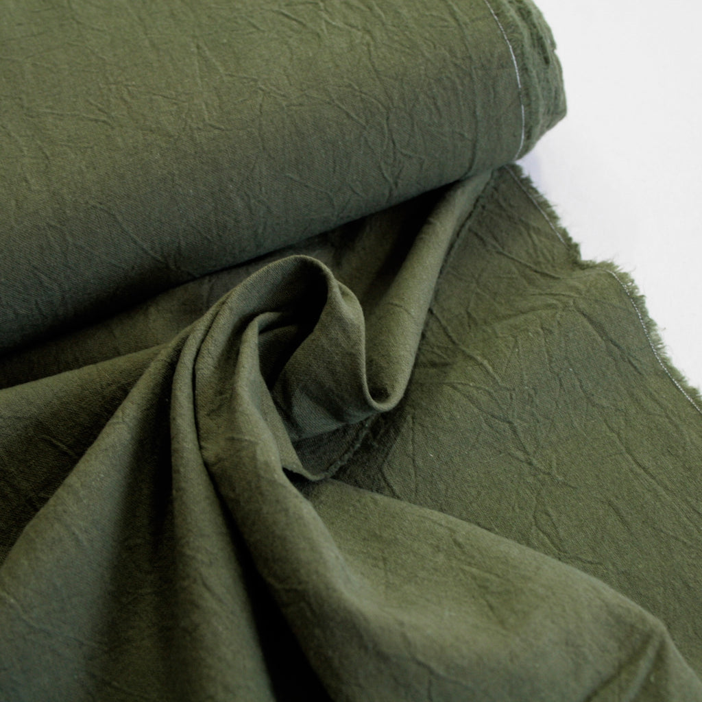 55% Linen 45% Cotton Crumpled Texture Canvas - Moss